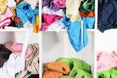 Clothing scattered on shelves — Stock Photo