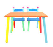 Small and colorful table and chairs for little kids isolated on white — 图库照片