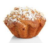 Chutné muffin dort s práškovým cukrem, izolovaných na bílém — Stock fotografie