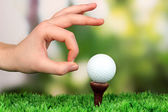 Hand pushing golf ball on green grass outdoor close up — Stock Photo