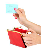 Female hand holding card and purse, isolated on white — Stock Photo