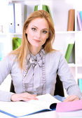 Portrait of teacher woman working in classroom — Stock Photo