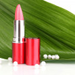 Lipstick on green leaf isolated on white — Stock Photo