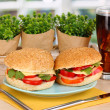 Appetizing sandwiches on color plate on wooden table on window background — Foto Stock