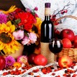Colorful autumn still life with apples and and wine close-up — Stock Photo