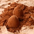 Chocolate truffles and cocoa, on brown background — Stock Photo #23522869