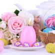 Place setting for Easter close up - Stock Photo