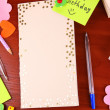 Writing letter of congratulations to Happy Birthday on wooden table close-up — Stock Photo