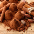 Composition of chocolate  truffles, cocoa and spices on wooden background - Foto Stock