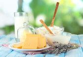 杯牛奶和奶酪自然背景上 — 图库照片