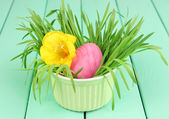 Easter egg in bowl with grass on green wooden table close up — Stock Photo