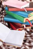 Many books with bookmarks on plaid — Fotografia Stock