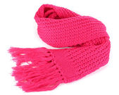 Warm knitted scarf pink isolated on white — Stockfoto