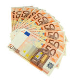 Euro banknotes isolated on a white — Foto de Stock