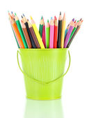 Colorful pencils in pail isolated on white — Stock Photo