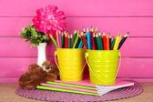 Barevné tužky v kbelíky s sešity a medvěd na tabulce na růžovém pozadí — Stock fotografie