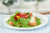 Salami rolls with paprika pieces inside, on roasted bread with cheese cream, on bright background — Stock Photo