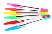Kolorowe długopisy na białym tle — Zdjęcie stockowe