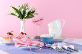 Tableware for tea drinking on bright background — Stock Photo