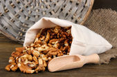 Nuts in sack on wooden background — Stock Photo