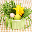 Royalty-Free Stock Photo: Easter eggs in bowl with grass on table close up