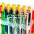 Empty and colorful test tubes close-up — Zdjęcie stockowe