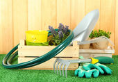 Garden tools on grass in yard — Stock Photo