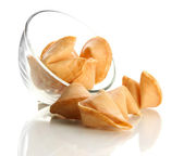Fortune cookies in bowl, isolated on white — Stock Photo