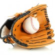 Stock Photo: Baseball glove and ball isolated on white