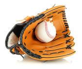 Honkbal handschoen en bal geïsoleerd op wit — Stockfoto