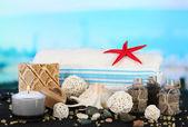 Spa kompozisyon mindere deniz arka plan — Stok fotoğraf