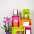 Beautiful colorful shelves with different home related objects — Stock Photo #23814177
