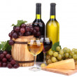 Barrel, bottles and glasses of wine, cheese and grapes, isolated on white — Stock Photo #23812075