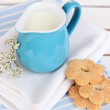 Blue jug with milk and cookies on wooden picnic table close-up — Stock Photo #23814899