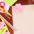 Writing letter of congratulations to Easter holidays on wooden table close-up - ストック写真
