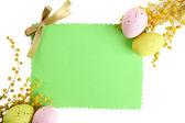 Prázdná karta s velikonoční vajíčka a mimózy květiny, izolované na bílém — Stock fotografie