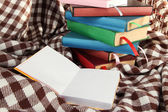 Many books with bookmarks on plaid — Stock Photo