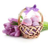 Bright easter eggs in basket and tulips, isolated on white — Stock Photo