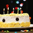 Happy birthday cake, on black background — Stock Photo #23887721