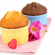 Stock Photo: Cupcakes in bowls for baking isolated on white