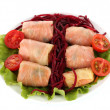 Stuffed cabbage rolls isolated on white - Stock Photo