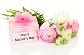 Ranunculus (persian buttercups) and gift for mothers day, isolated on white — Stock Photo