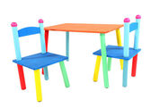 Small and colorful table and chairs for little kids isolated on white — Stock Photo