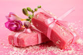 Natural handmade soap, on pink background — Foto Stock