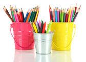 Kleurrijke potloden in drie emmers geïsoleerd op wit — Stockfoto