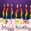 Birthday cake with candles on violet background — Foto de Stock   #23939589