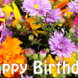 Beautiful bouquet of bright flowers close-up as b-day card — Foto de Stock