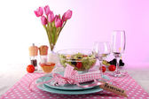 Table setting on pink background — Stock Photo