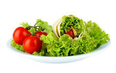 Kebab - grilled meat and vegetables, on plate, isolated on white — Stock Photo