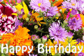 Beautiful bouquet of bright flowers close-up as b-day card — Stock Photo